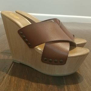 Studded Leather Strap Wedges